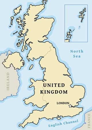 United Kingdom vector map - simple map graphics with London marked.