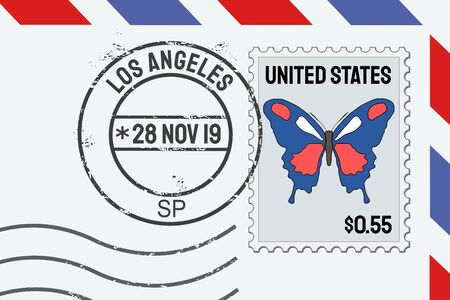 Los Angeles postage stamp - American post stamp on a letter.