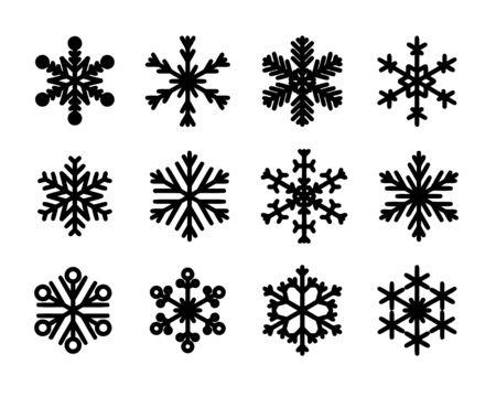 Flocons de neige isolés de vecteur. Jeu d'icônes de flocon de neige de Noël.