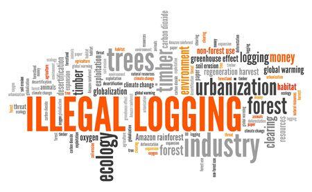 Nube de word de tala ilegal. Concepto de delito ambiental. Foto de archivo