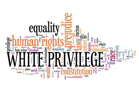Concept de privilège blanc. Nuage de mots sur les droits de l'homme.