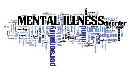 Wortwolkenkonzept für psychische Erkrankungen. Zeichen für psychische Gesundheit. Standard-Bild