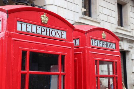 London red telephone. English symbol - red phone booths in Covent Garden. Stockfoto