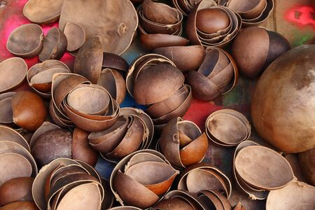 Guadeloupe market in Pointe a Pitre, biggest city of Guadeloupe. Calabash shell halves. Imagens