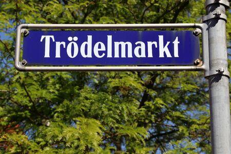 Nuremberg city, Germany. Sign with street name - Trodelmarkt square.