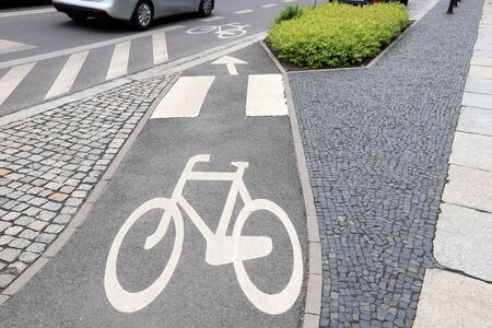 Bicycle lane in Wroclaw, Poland. Cycling transportation infrastructure.