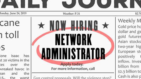 Network administrator job offer. Newspaper classified ad career opportunity.
