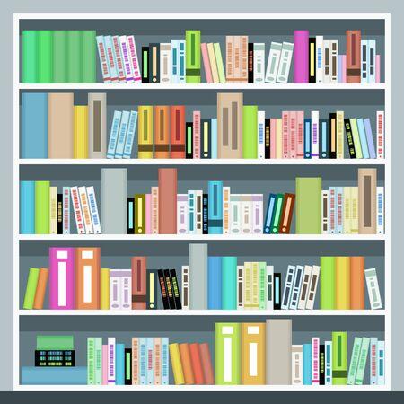 Bibliothèque de vecteur. Bibliothèque à la maison ou à la bibliothèque.
