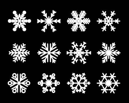 Wektor na białym tle płatki śniegu. Boże Narodzenie zestaw ikon płatka śniegu.