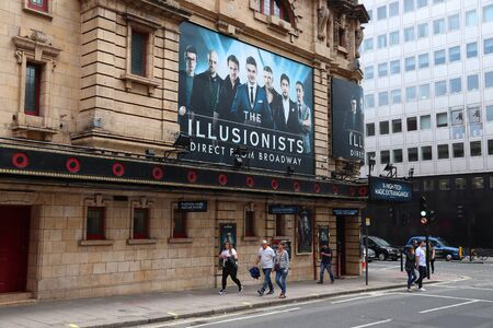 LONDON, UK - JULY 14, 2019: Shaftesbury Theatre playing The Illusionists in London, UK. It is one of London West End theatres. In 2013 West End theatres sold 14.5 million tickets. Editoriali