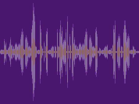 Sound wave purple vector. Electronic audio sound digital display.