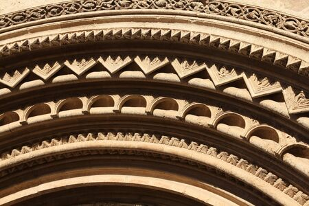 Valencia, Spain. Architecture detail of the Cathedral. Stonework ornaments.