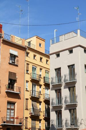 Valencia city, Spain. Street view of apartment buildings, residential architecture.