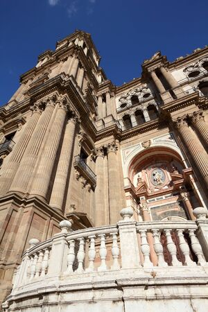 Malaga landmark architecture in Andalusia region of Spain. Cathedral exterior. Spain landmarks.