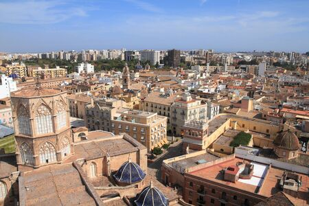 Valencia city, Spain. Aerial view of Spanish city architecture.