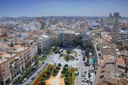 Valencia city, Spain - aerial view of a city square and a park.