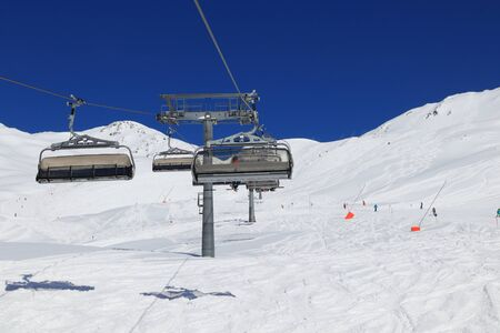 Austrian Alps winter ski resort - Mayrhofen in Tyrol. Austrian Central Alps. Horberg mountain.