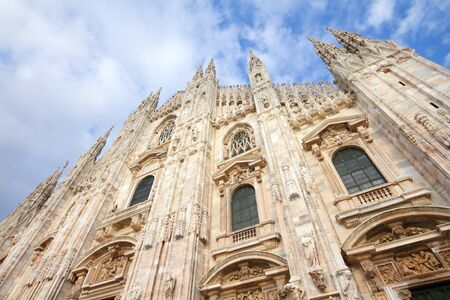 Milan Cathedral, Italy. Gothic style marble church facade. Italy landmark.