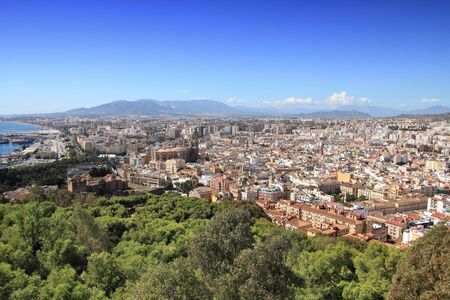 Malaga in Andalusia, Spain. Aerial view of port and the city.