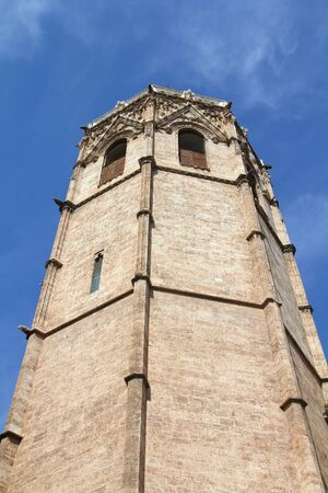 Valencia city, Spain. Micalet tower, part of the Cathedral. Foto de archivo