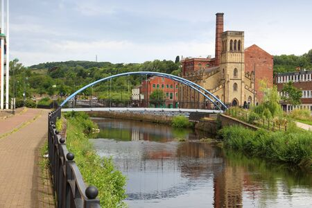 Sheffield city UK. River Don foot bridge.