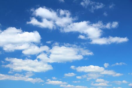 White clouds background on blue sky. Idyllic background abstract. Stock Photo