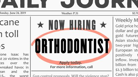 Orthodontist career - job offer. Newspaper classified ad career opportunity.