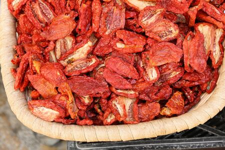 Sun dried Italian tomatoes at a market in Gallipoli, Italy. Stock Photo