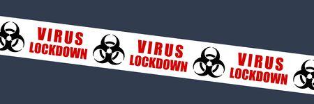 Virus lockdown tape vector symbol. Biological hazard warning sign. Biohazard barrier tape.