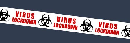 Virus lockdown tape vector symbol. Biological hazard warning sign. Biohazard barrier tape.