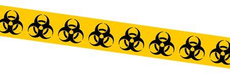 Biohazard tape vector symbol. Biological hazard warning sign. Biohazard barrier tape. Illustration
