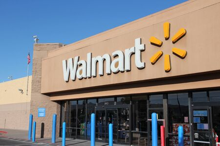 RIDGECREST, USA - APRIL 13, 2014: Walmart store in Ridgecrest, California. Walmart is a retail corporation with 8,970 locations and revenue of US$ 469 billion (FY 2013). Editorial