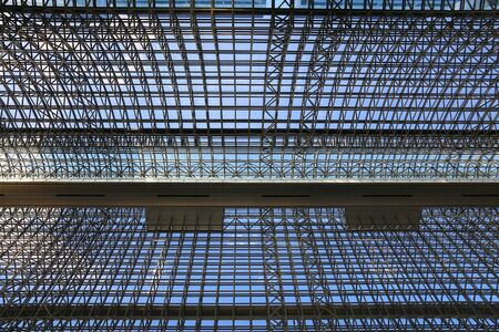 KYOTO, JAPAN - NOVEMBER 28, 2016: Glass roof of Kyoto Station. It is Japan's 2nd biggest train station building. The building is recent, but station existed here since 1877. 에디토리얼