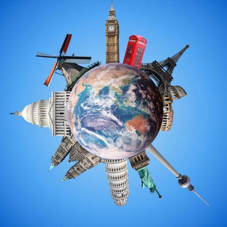 Travel planet. World landmarks and globe. Travel the world concept