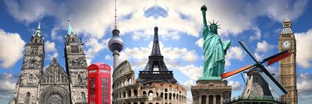 World travel collage. World landmarks grouped together: New York, London, Berlin and Rome.