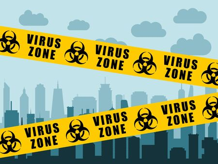 Virus lockdown barrier tape over city. Coronavirus pandemic. Biohazard warning sign. Illustration