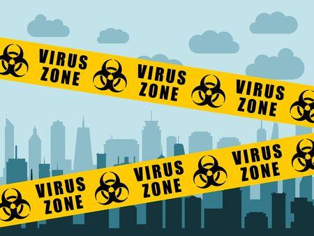 Virus lockdown barrier tape over city. Coronavirus pandemic. Biohazard warning sign.  イラスト・ベクター素材