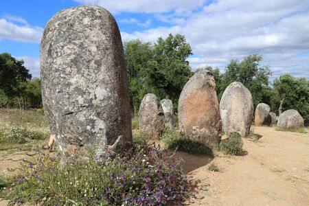 Neolithic site in Europe. Almendres Cromlech megalith stones in Portugal.