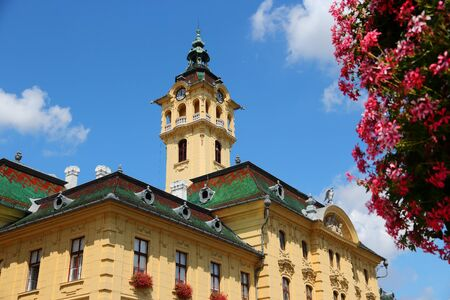 Szeged town architecture in Hungary. Town in Csongrad county. Local government - city hall institutions.