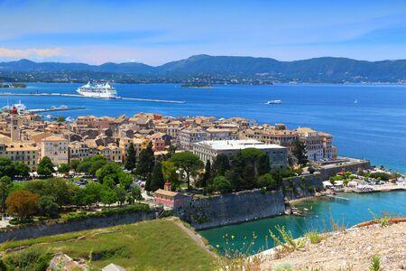 Corfu Old Town (Kerkyra) - Aerial view. Stock Photo