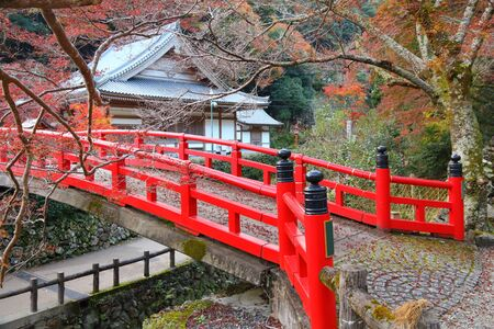 Red Japanese bridge in Minoo Park near Osaka, Japan.