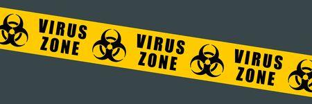 Biohazard tape vector symbol. Biological hazard warning sign. Biohazard barrier tape.  イラスト・ベクター素材