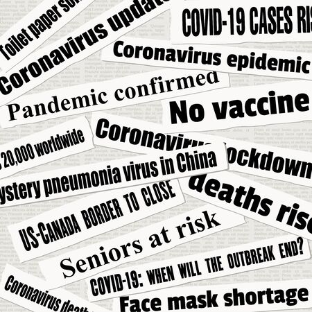 Coronavirus pandemic crisis newspaper titles. COVID-19 global pandemic. News headline collection vector.