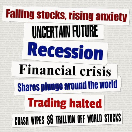 Financial crisis newspaper titles. Stock markets falling down. News headline collection vector. Vettoriali