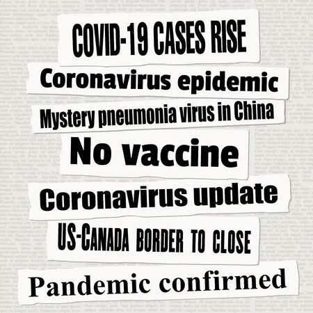 Coronavirus pandemic crisis newspaper titles. COVID-19 global pandemic. News headline collection vector.