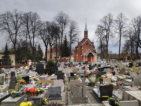Bytom city landmark in Poland. Historic church and cemetery on St. Margaret Hill (Wzgorze Sw. Malgorzaty). 報道画像