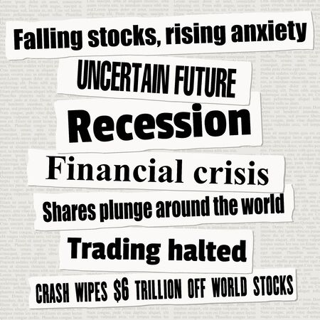 Financial crisis newspaper titles. Stock markets falling down. News headline collection vector.