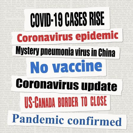 Coronavirus pandemic newspaper titles. COVID-19 global pandemic. News headline collection vector. Illusztráció