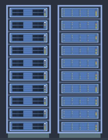 Server room in data center. Cloud storage and computing internet technology illustration.