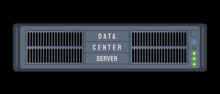 Server in a data center. Internet technology vector illustration. 向量圖像